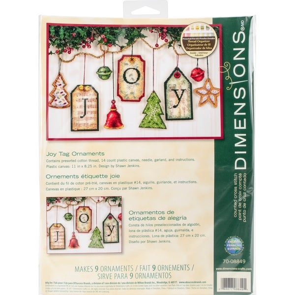 """Joy Tag Ornaments Counted Cross Stitch Kit-5"""" High 14 Count Set Of 9"""