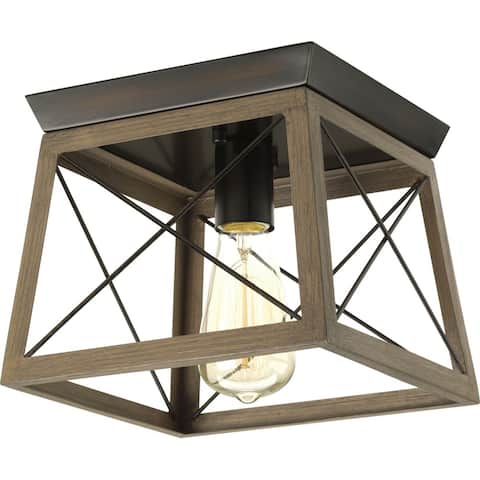 "Briarwood Collection Rich Oak Farmhouse Flush Mount Ceiling Light - 10.000"" x 11.750"" x 12.120"""