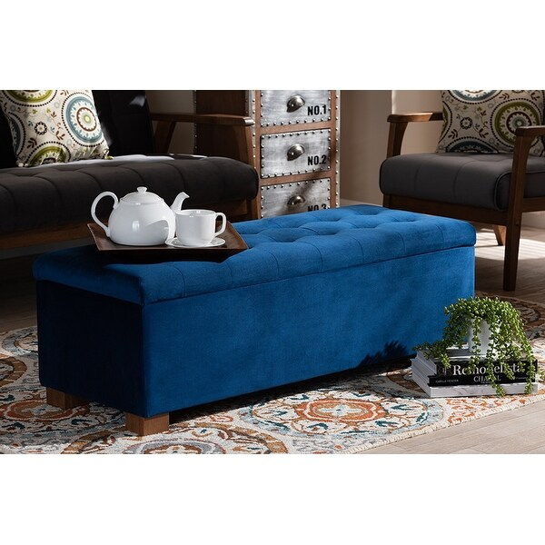 Cooper Navy Blue Velvet Fabric Grid-Tufted Storage Ottoman Bench
