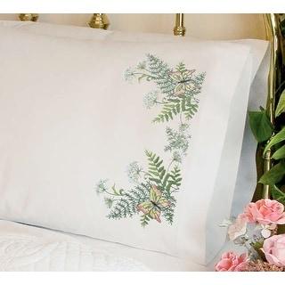 """Stamped Cross Stitch Pillowcase Pair 20""""X30""""-Butterflies & Fern"""