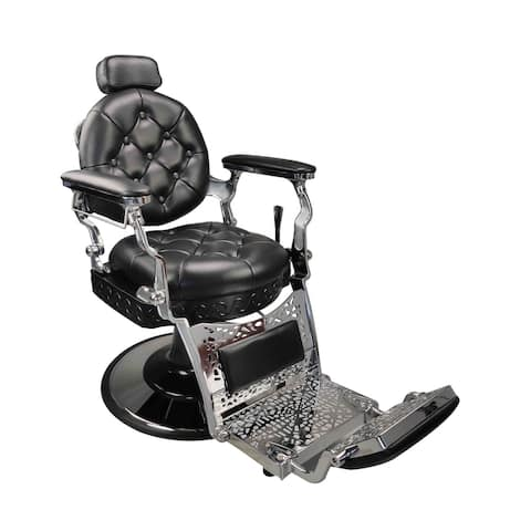 MADISON Black Vintage Barber Chair Reclining Heavy-Duty Versatile Styling Chair