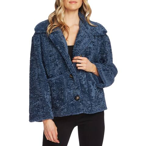 Vince Camuto Womens Coat Blue Size Medium M Faux-Fur Button Front