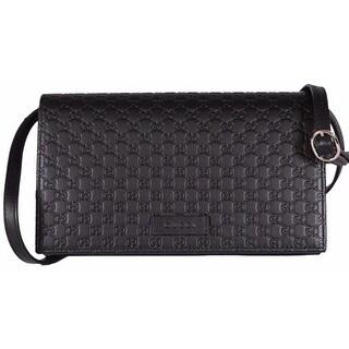 """Gucci 466507 Black Leather Micro GG Guccissima Crossbody Wallet Bag Purse - 8"""" x 4.5"""" x 1.5"""""""