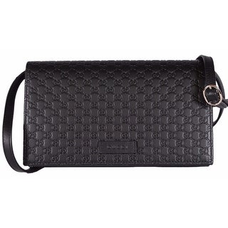 "Gucci 466507 Black Leather Micro GG Guccissima Crossbody Wallet Bag Purse - 8"" x 4.5"" x 1.5"""