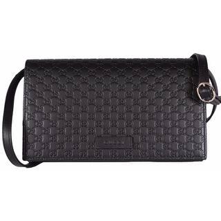 Gucci 466507 Black Leather Micro Gg Guccissima Crossbody Wallet Bag Purse 8 X 4 5