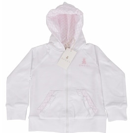 New Gucci Baby Girl's White Pink GG Guccissima Zip Up Hoodie Jacket 9-12 M