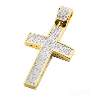 Genuine Diamond Cross Charm Mens or Womens 1/4ctw Diamonds Pave Set 40mm Gold-Tone Silver (i2/i3, j/k) By MidwestJewellery