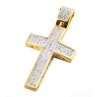 Genuine Diamond Cross Charm Mens or Womens 1/4ctw Diamonds Pave Set 40mm Gold-Tone Silver (i2/i3, j/k) By MidwestJewellery