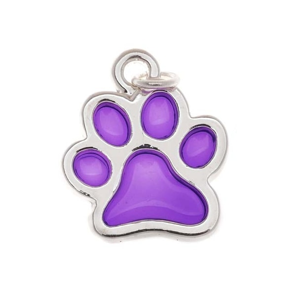 Silver Plated Transparent Purple Enamel Paw Print Charm 16mm (1)