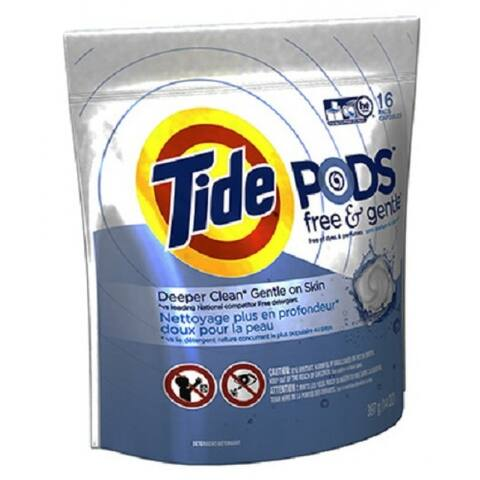 Tide 89885 Free & Gentle HE Laundry Pod, 16-Count