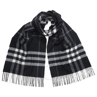 Burberry Black White Cashmere Giant Check Scarf