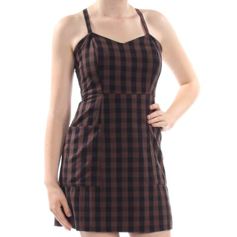 VOLCOM Womens Brown Check Mini Dress Juniors Size: S