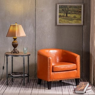 Modern PU Leather Accent Chair Single Sofa with Copper Nails