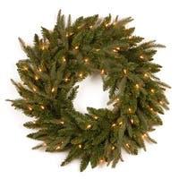 Pre-Lit Camdon Fir Artificial Christmas Wreath - 24-Inch, Clear Lights - green