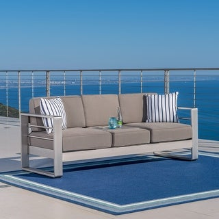 Link to Cape Coral Outdoor Loveseat Sofa with Tray by Christopher Knight Home Similar Items in Patio Sets