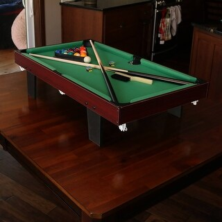 Sunnydaze 36-Inch Mini Tabletop Pool Table with Triangle Balls Cues Chalk