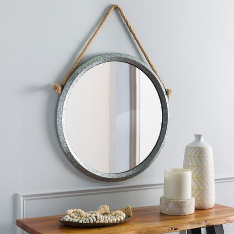 """Thadd Modern Galvanized Metal Hanging 24-inch Round Mirror - 24""""H x 24""""W"""