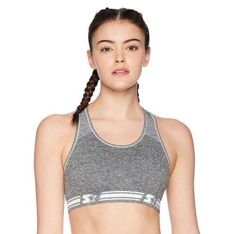 Starter Women's Reversible Seamless Racerback Sports Bra,, Grey, Size Medium