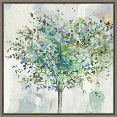 Glorious Still Moment (Green Tree) by Allison Pearce Framed Canvas Art