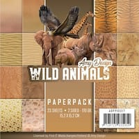 """Find It Amy Design Paper Pack 6""""X6"""" 23/Pkg-Wild Animals, Double-Sided Designs"""