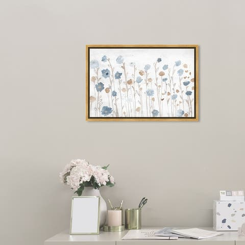 Oliver Gal 'Beautiful Growth Light Blue' Floral and Botanical Wall Art Framed Canvas Print Florals - Blue, Brown