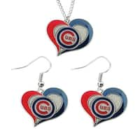 Chicago Cubs Swirl Heart Necklace and Dangle Earring Set MLB Charm Gift