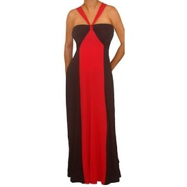 Funfash Plus Size Red Black Color Block Halter Long Womens Maxi Dress