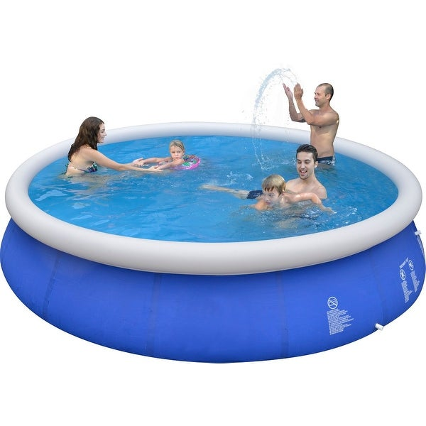 Shop 15 39 X 36 Blue And White Inflatable Above Ground Prompt Swimming Pool Set Free Shipping