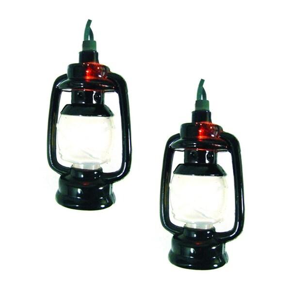 Set of 10 Camp Lantern Novelty Christmas Lights - Green Wire