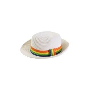 August Hat White Multi Stripe Band Fedora Hat OS