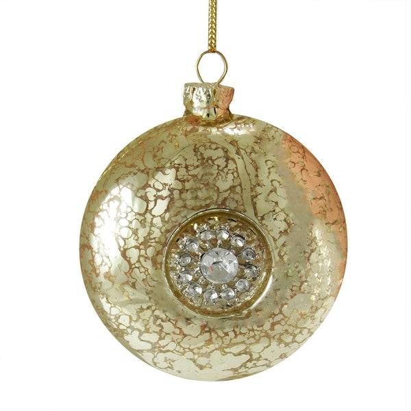 "3.5"" Silent Luxury Gold with Gem Snowflake Medallion Glass Disc Christmas Ornament"