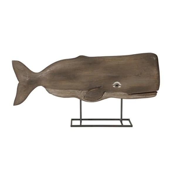 "29"" Natural Carved Mango Wood Seaside Whale Statuary - N/A"