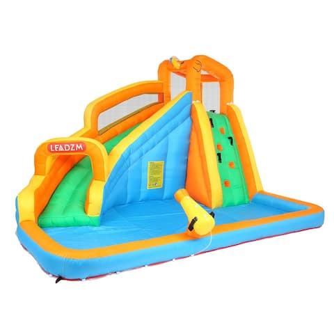 Inflatable Water Slide Bounce House w/Climbing Wall, Water Gun, Splash Pool, Water Slide Castle Outdoor (Included Blower)