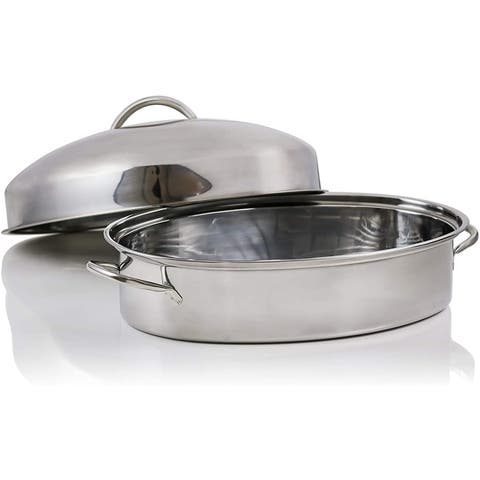 Ovente Oval Roasting Pan 16 Inch Stainless Steel, Silver CWR32161S