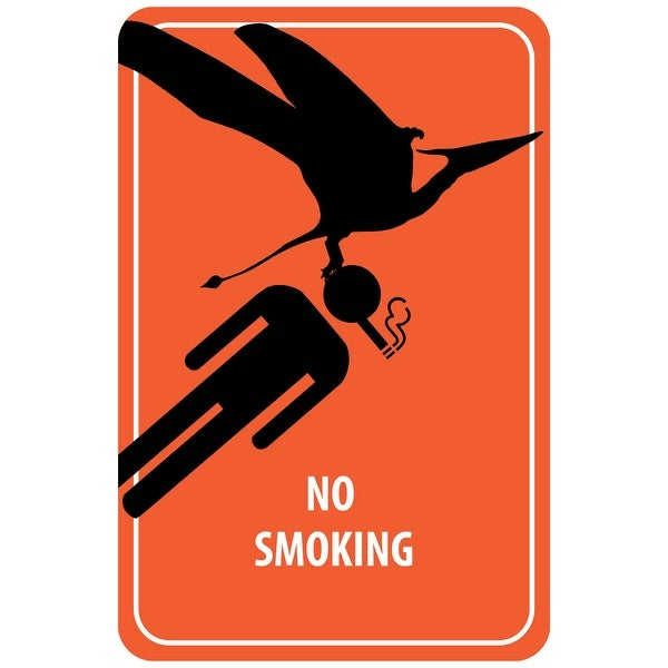 No Smoking Sign - Dinosaur Attack (Acrylic Wall Clock) - acrylic wall clock