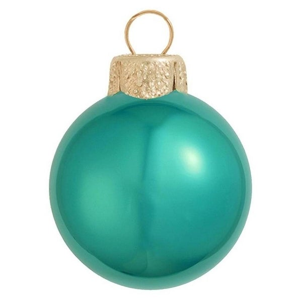 "40ct Pearl Teal Green Glass Ball Christmas Ornaments 1.25"" (32mm)"