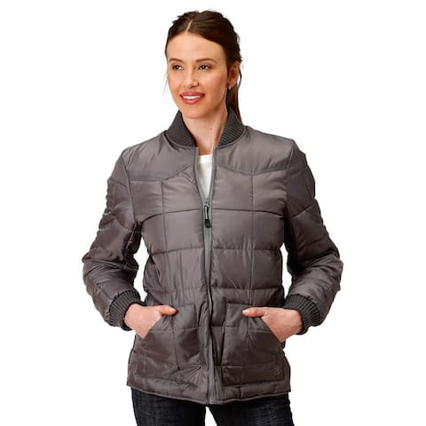 Roper Western Jacket Womens Zipper Quilted - Gray