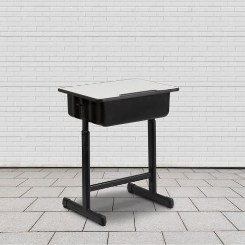 Student Desk with Grey Top and Adjustable Height Pedestal Frame