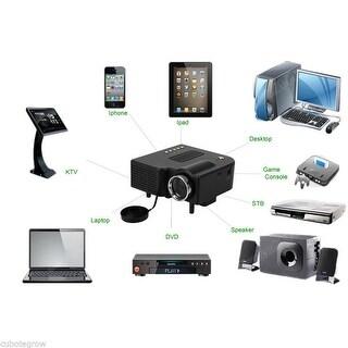 Excelvan Portable Mini LCD LED Projector Home Theater VGA/USB/SD/AV/HDMI Speaker - Black
