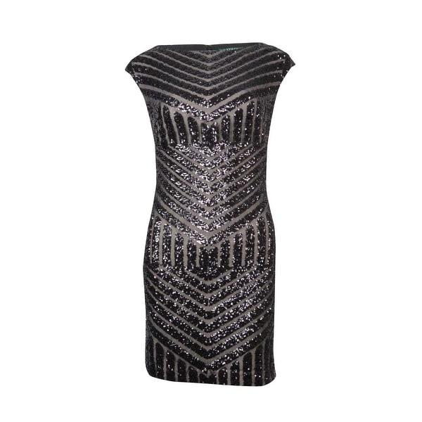 Lauren Ralph Lauren Women's Chevron-Sequined Sheath Dress - Black