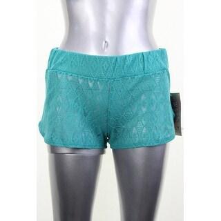 Roxy Green Mesh Pocket-Front Beach Shorts S