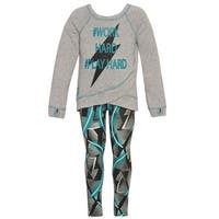 Little Girls Jade Letter Print Stitch Detail Mixed Panel 2 Pc Pant Set