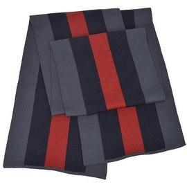 NEW Gucci 206086 Wool Silk Slate BLUE Red Web Stripe Scarf Muffler