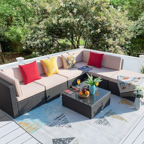Homall 7 Pieces Patio Furniture Sets All Weather PE Rattan Wicker Sectional Sets Modern Modular Couch Outside Conversation Set