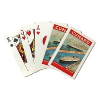 Cunard - Cherbourg - New York - Vintage Ad (Poker Playing Cards Deck)