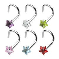 "Surgical Steel Nose Screw with 3mm Prong-Set Gem Star - 18 GA 1/4"" Long (3mm Ball) (Sold Ind.)"