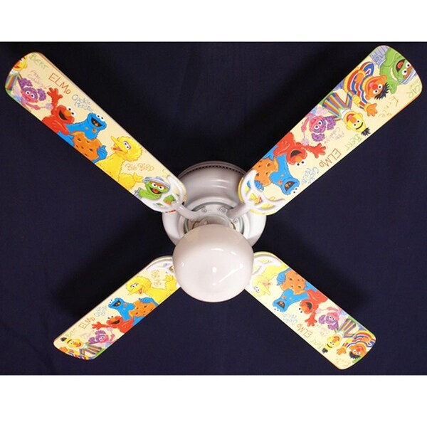 Sesame Street Character Nursery Print Blades 42in Ceiling Fan Light Kit - Multi