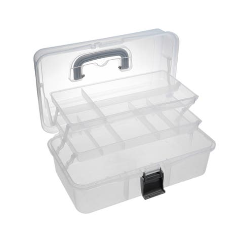 13-inch Tool Box with Tray and Organizers Includes 10 Small Parts Transparent