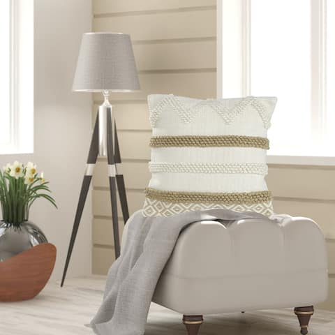 Neutral Textured Color Block Throw Pillow