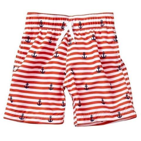 Azul Baby Boys Red Stripe Smooth Sailing Print Drawstring Swim Shorts - 24 Months